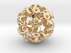 Nested Rhombic Triacontahedron  in 14k Gold Plated Brass
