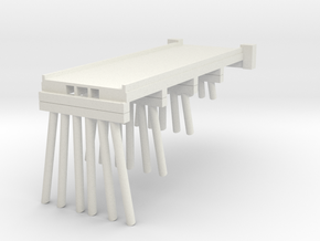 Part A Deck Trestle N (1:160) Modular Six Piles in White Natural Versatile Plastic