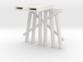 Part D Trestle N (1:160) Modular Six Piles in White Natural Versatile Plastic