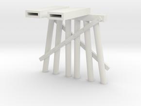 Part D Trestle N (1:160) Modular Six Piles in White Natural Versatile Plastic
