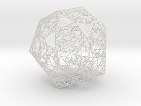 Sierpinski Icosahedron in White Natural Versatile Plastic