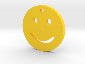 Smiley Smile Silhouette Keychain in Yellow Processed Versatile Plastic