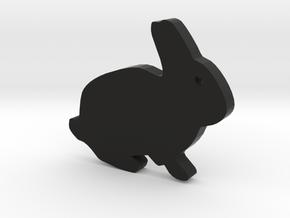 Rabbit Silhouette Keychain in Black Premium Versatile Plastic