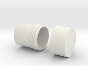 "Little Container with 3/4"" threading & cap in White Natural Versatile Plastic"