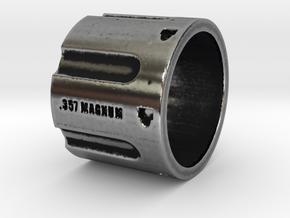 357 Magnum Cylinder Ring, 6 shot, Ring Size 9 in Antique Silver