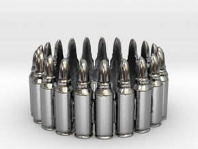 7.62x39 Bullet Round Ring #1, Ring Size 10 in Antique Silver