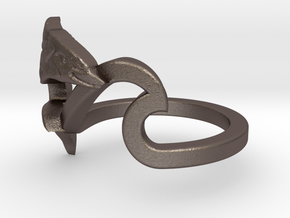 Wave Ring Dolphin- 6 in Polished Bronzed-Silver Steel
