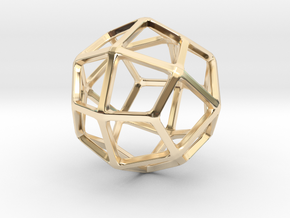 Deltoidal Icositetrahedron in 14k Gold Plated Brass: Small