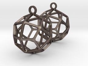 Deltoidal Icositetrahedron Earrings in Polished Bronzed-Silver Steel