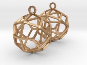 Deltoidal Icositetrahedron Earrings in Natural Bronze
