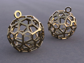 Pentagonal Hexecontahedron Earrings in Polished Bronze