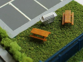 N Scale 2x Picnic Bench in Smooth Fine Detail Plastic