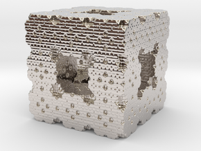 Menger Cube Fractal in Rhodium Plated Brass