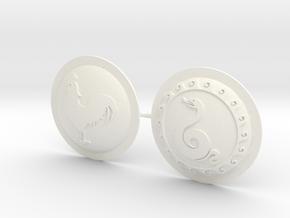 HOPLITE SHIELDS ROOSTER SNAKE  in White Processed Versatile Plastic