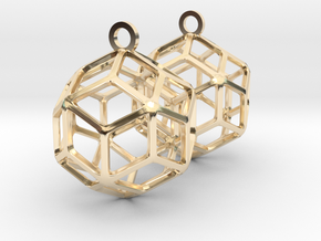 Rhombic Triacontahedron Earrings in 14k Gold Plated Brass