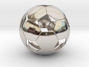 Soccer ball in Rhodium Plated Brass