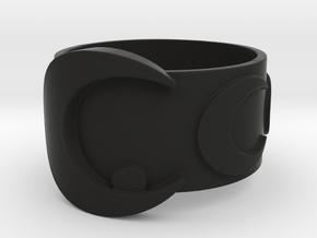 Moon stick inspired ring in Black Premium Versatile Plastic: 5 / 49