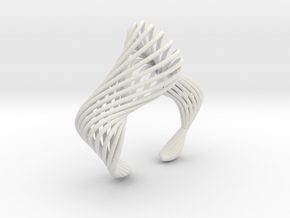 Liquid Tension Bangle - Hollow - L in White Natural Versatile Plastic