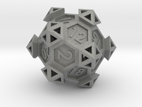 Ancient Construct D20 in Gray Professional Plastic