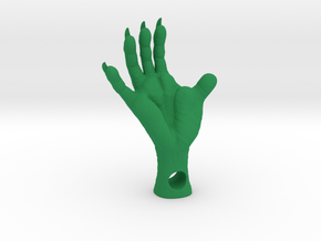 Opossum Foot, 1.375 Inches - 4mm hole - plastics in Green Processed Versatile Plastic