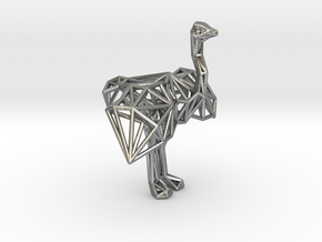 Ostrich (male adult) in Natural Silver