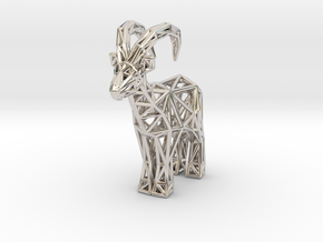 Ibex (adult male) in Rhodium Plated Brass