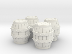 HO Scale Barrels in White Natural Versatile Plastic