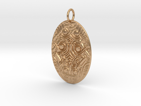 Oval Animal Ornament Pendant in Natural Bronze