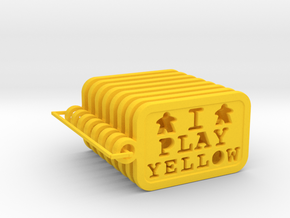 I PLAY YELLOW - Meeple Keychain (8) in Yellow Processed Versatile Plastic