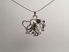 Octopus with Heart & Spoon in Polished Silver