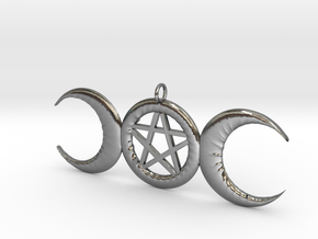 WitchMoon Pendant in Polished Silver