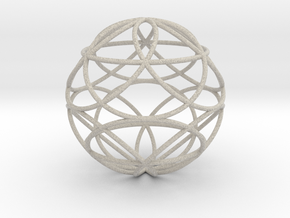 3D 50mm Orb of Life (3D Seed of Life) in Natural Sandstone
