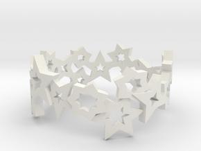 Stars Ring in White Natural Versatile Plastic: 7.5 / 55.5