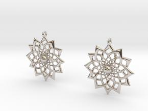 HFlower Earrings in Rhodium Plated Brass