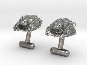 Lion Head Cufflinks in Natural Silver