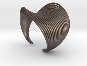 VEIN Cuff Bracelet in Polished Bronzed-Silver Steel: Small
