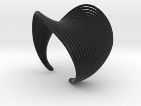 VEIN Cuff Bracelet in Black Premium Versatile Plastic: Small