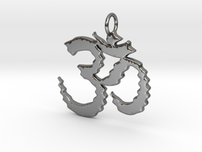 Om in waves in Polished Silver