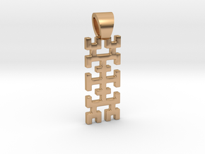 Hilbert curve [pendant] in Polished Bronze