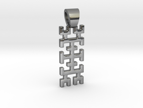Hilbert curve [pendant] in Polished Silver