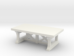 Miniature Preston Coffee Table - Gramercy Home in White Natural Versatile Plastic: 1:12