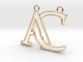 Monogram with initials A&C in 14k Gold Plated Brass