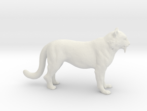 HO Scale Saber Tooth Tiger in White Natural Versatile Plastic