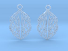 Stream earrings in Smooth Fine Detail Plastic: Small