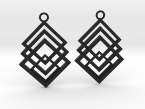 Geometrical earrings no.1 in Black Natural Versatile Plastic: Small
