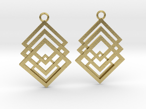 Geometrical earrings no.1 in Natural Brass: Small