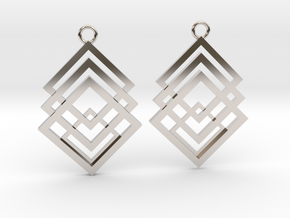 Geometrical earrings no.1 in Rhodium Plated Brass: Small