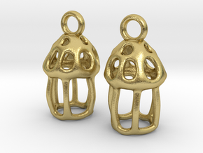Tintinnid Dictyocysta Lepida Earrings in Natural Brass