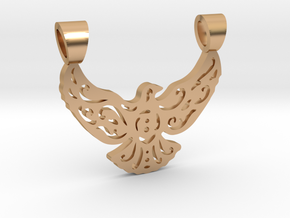 Lacework bird [pendant] in Polished Bronze