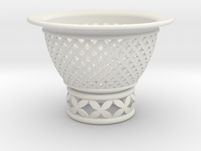 Neo Pot Woven Circles 4 in. in White Natural Versatile Plastic